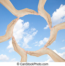 human hands making circle with copy space in the middle -...