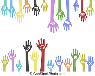 the background of hands with web icons