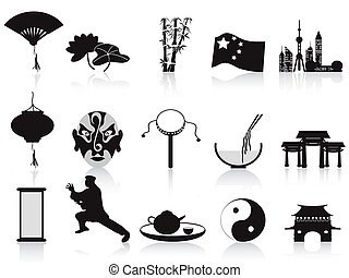black chinese icons set - isolated black chinese icons set...