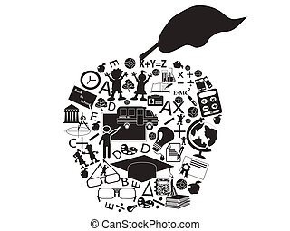 education apple - isolated an education apple filled with...