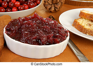Cranberry sauce - A bowl of cranberry sauce and nut bread