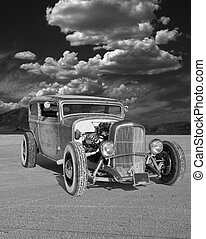 1930s Sedan Hotrod on the Salt - Frontal and passenger side...