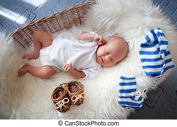 dormir, recem nascido, bebê, vime, cesta, mentindo,...
