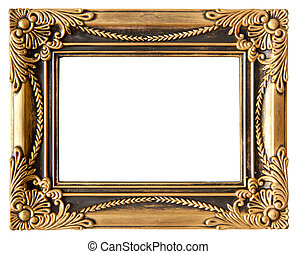 love gold frame - antique love gold frame isolated on white