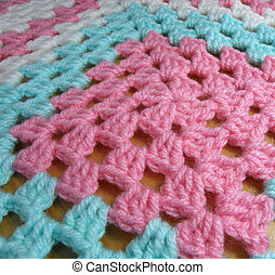 Crochet Square Middle - Crochet baby blanket, close-up of...
