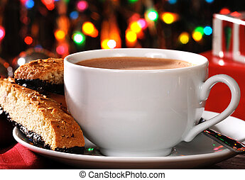 Mocha latte at Christmas time - A steaming hot cup of mocha...