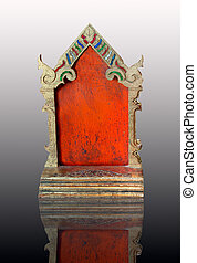 The Carving wood of put paper or mail thai style on reflect background