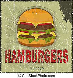 Grunge Cover for Fast Food Menu - hamburger on vintage...