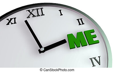Personal Time Concept on Clock for Me