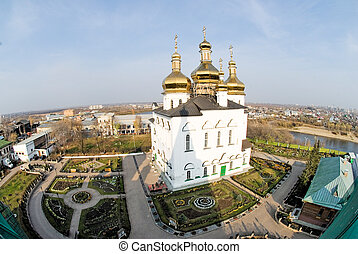 Church in Tyumen - Church complex at bird point view....
