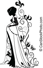 Silhouette of pregnant woman - Silhouette of floral pregnant...