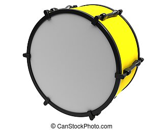The yellow drum on a white background.