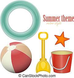 Beach toys - ball, shovel, bucket, lifeline - isolated on...