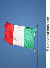Italian Flag - Italian green, white and red flag fluttering...