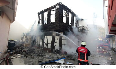 fire in wooden house  - fire in wooden house