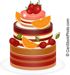 Chocolate Berry Cake on white background - vector...