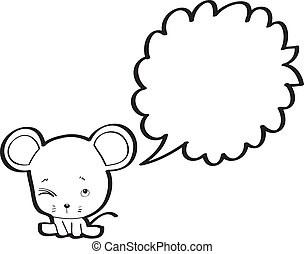 rat with speech bubble cartoon