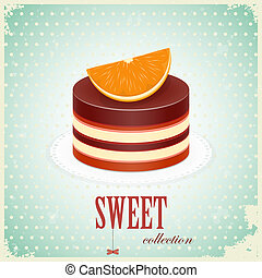 Chocolate Cake with Orange - vintage postcard - Chocolate...