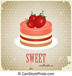Sponge Cake with Strawberry - vintage postcard - Sponge Cake...