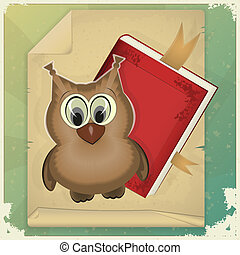 wise owl and book on vintage background