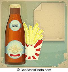 Beer and Chips Menu in vintage style
