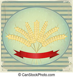 Vintage Label - Ears of wheat on blue retro background
