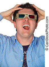 Frustrated man watching a 3d movie - Picture of a frustrated...
