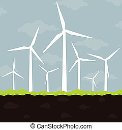 Wind power - Ecologically a wind net energy. A vector...