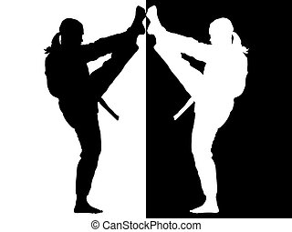 taekwondo fighter black and white