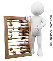 3D man with a huge abacus