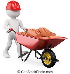 3D, trabalhador, Empurrar, carrinho de mão, Tijolos
