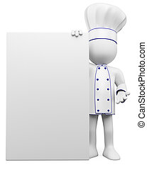 3D cook with a blank poster Rendered at high resolution on a...