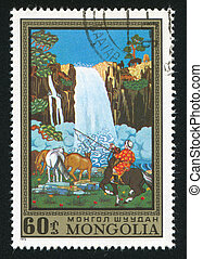 Waterfall and horses - MONGOLIA - CIRCA 1972: stamp printed...