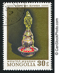 candlestick - MONGOLIA - CIRCA 1974: stamp printed by...