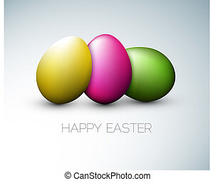 Simple vector Happy Easter card with three colorful eggs on...