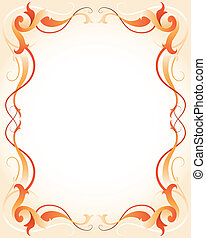 Orange frame with stripes - Vector illustration of a orange...