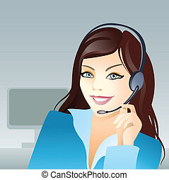 Young girl with headset - Vector illustration of a young...