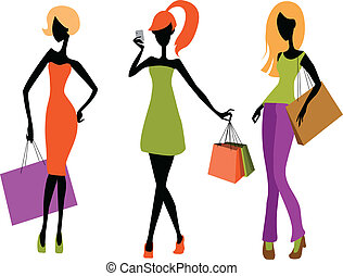 Young girls shopping - Vector illustration of a three young...