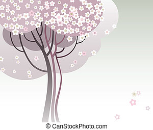 Trees in bloom - Vector illustration of a trees in bloom