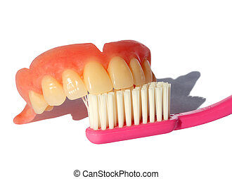 Teeth Brush - A complete upper false teeth and pink...