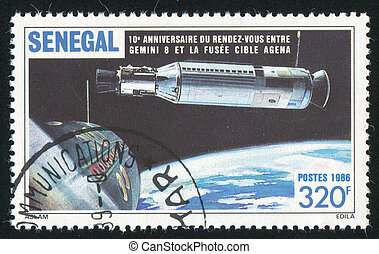 Outer Space - SENEGAL - CIRCA 1987: stamp printed by...