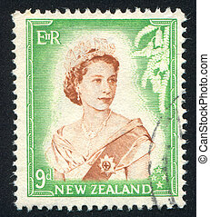 queen Elizabeth II - NEW ZEALAND - CIRCA 1953: stamp printed...