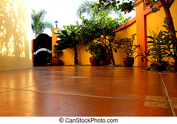 Patio - Tiled patio with ornamental plants and trees