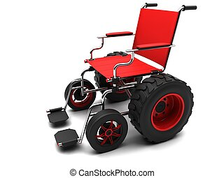 Wheelchair-terrain vehicle on a white background