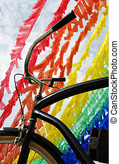 Bicycle and Plastic Recycle - Colorful Plastic Strip...