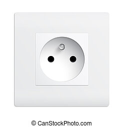 Isolated outlet - Realistic illustration of a white isolated...