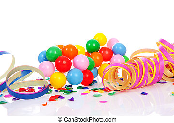 Colorful confetti, balloons and party streamers