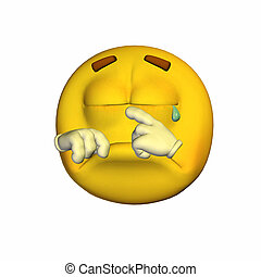 Crying Emoticon - Illustration of a crying emoticon isolated...