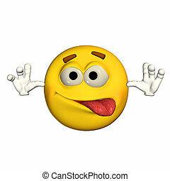 Goofy Emoticon - Illustration of a goofy emoticon isolated...