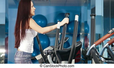 Young Woman Exercising At The Gym - Young Woman On Cross...